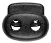 Double cord stopper (6mm - Black - Plastic)