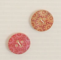 4-hole button (Plastic - 15mm - Orange flowers)