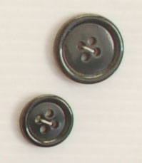 4-hole button (Plastic - 15mm - Shiny black)