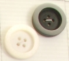 4-hole button (Plastic - 25mm - White matt circled shiny white)