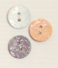 2-hole button (Mother-of-pearl - Orange - 15mm)